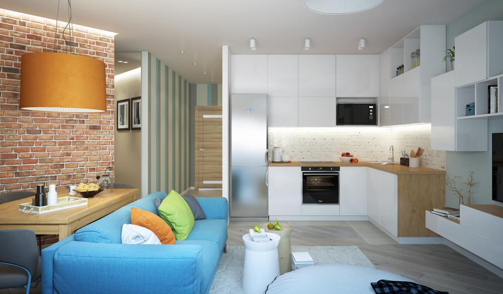 Интерьер маленькой квартиры с открытой планировкой