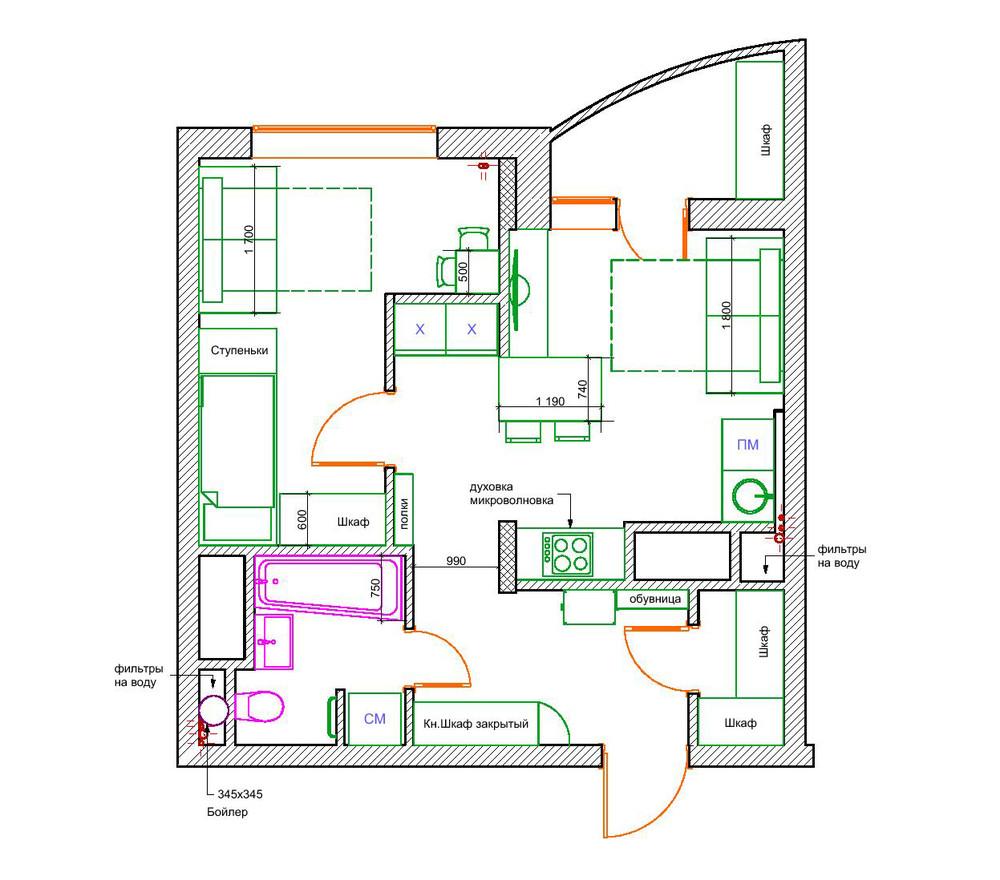 Планировка квартиры меньше 50 м2