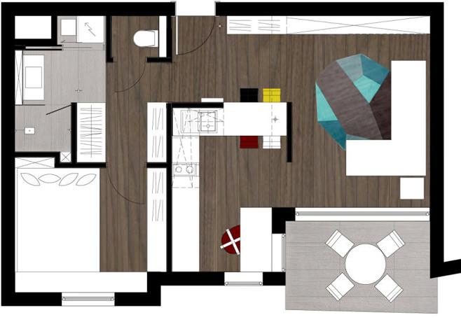 Планировка стильной квартиры для холостяка