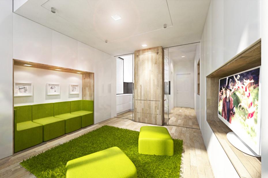 Дизайн квартиры трансформер в ярко-зелёном цвете