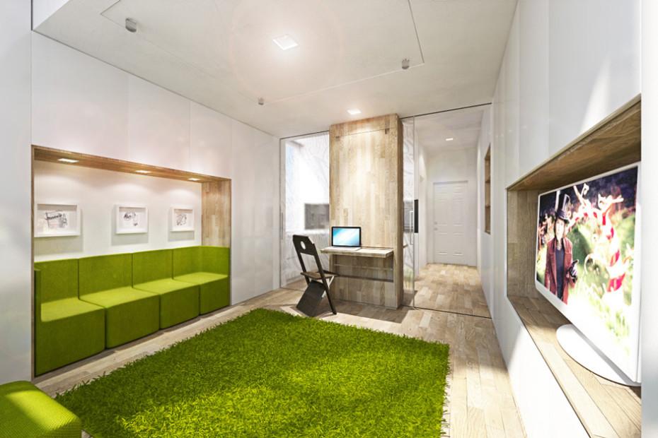 Дизайн квартиры трансформер: гостиная