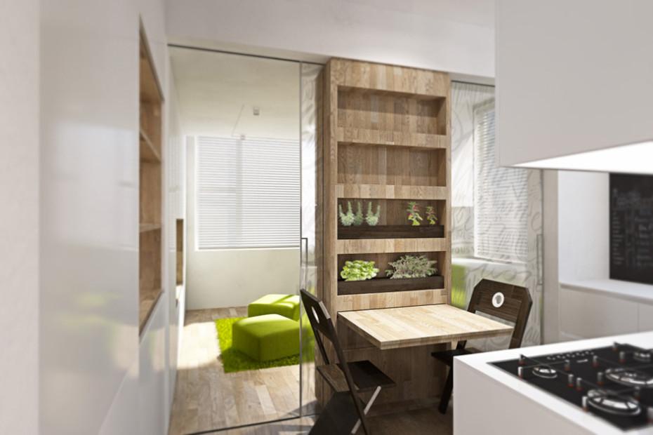 Дизайн квартиры трансформер: обеденная зона на кухне