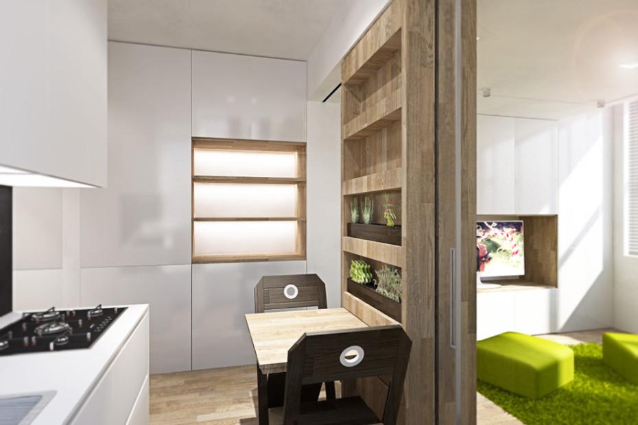 Дизайн квартиры трансформер: кухня с обеденной зоной