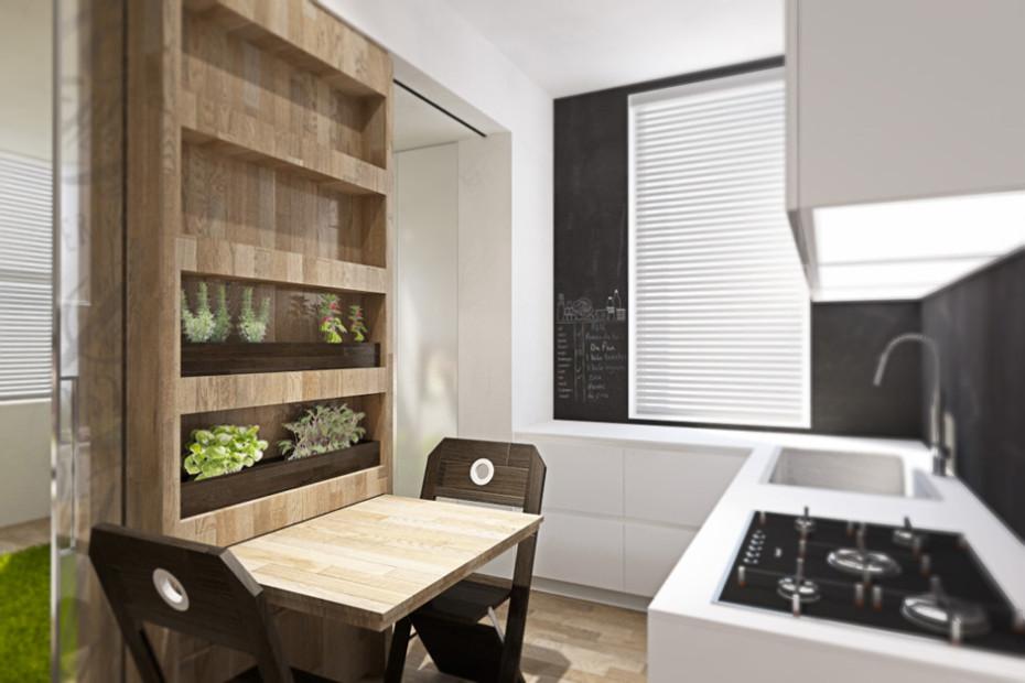 Дизайн квартиры трансформер: стеллаж с растениями на кухне