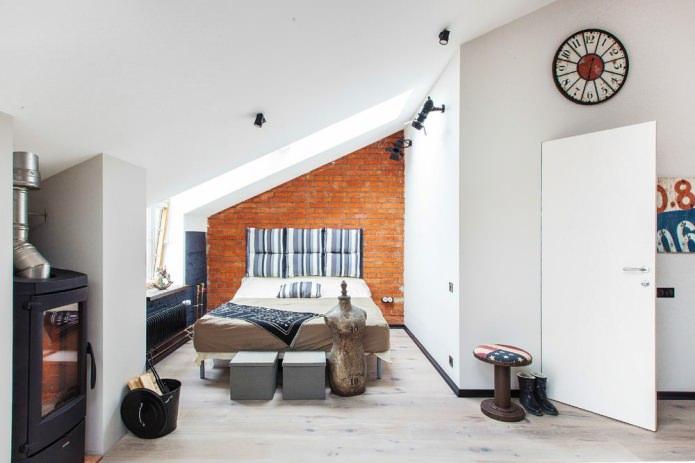 Спальня маленькой студии в стиле лофт