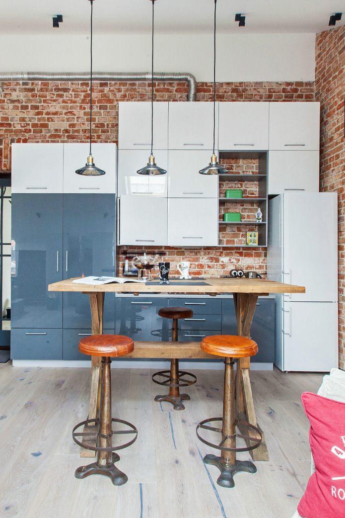Кухня маленькой студии в стиле лофт