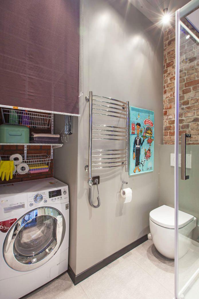 Ванная маленькой студии в стиле лофт