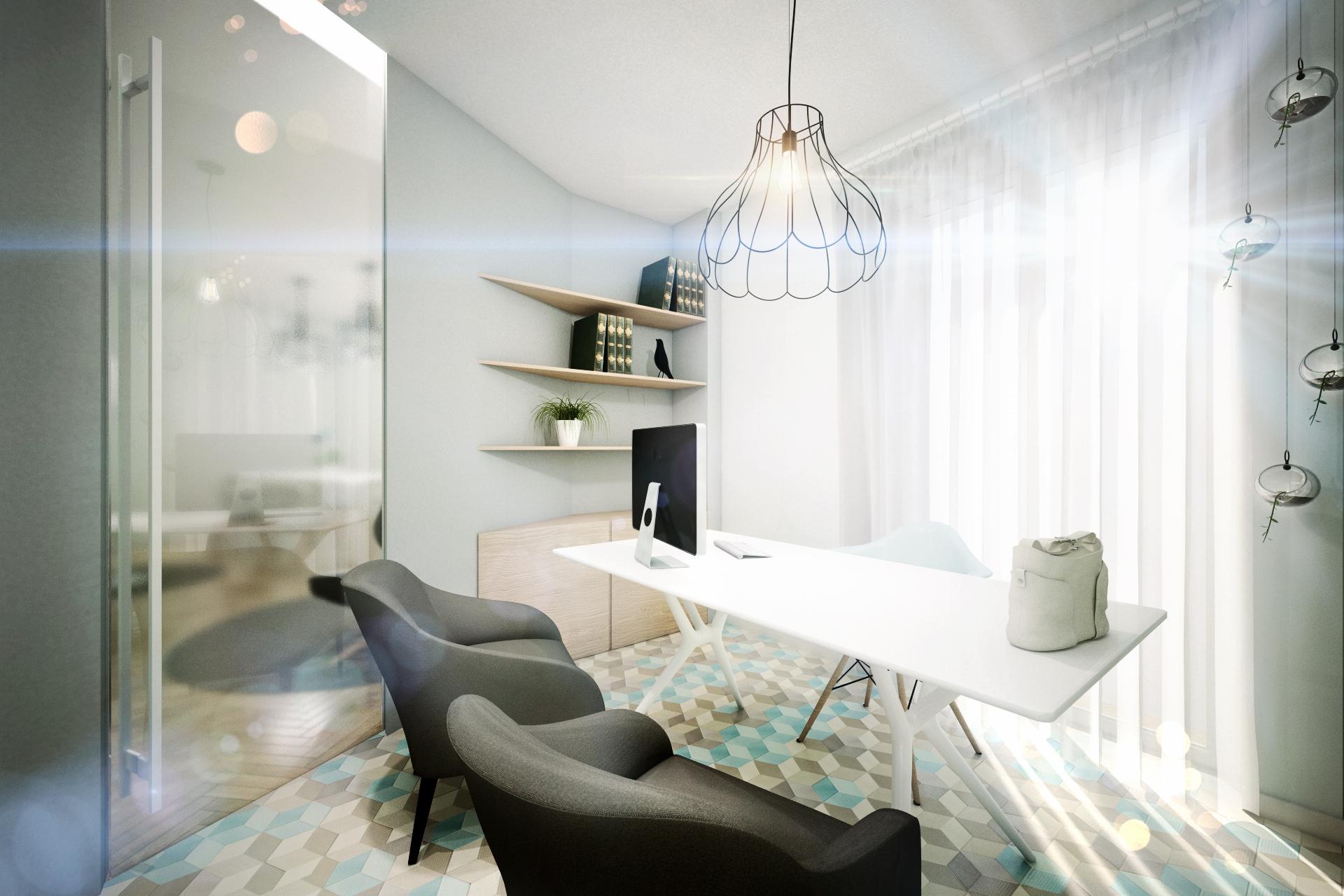 Дизайн квартиры в пастельных тонах: кабинет