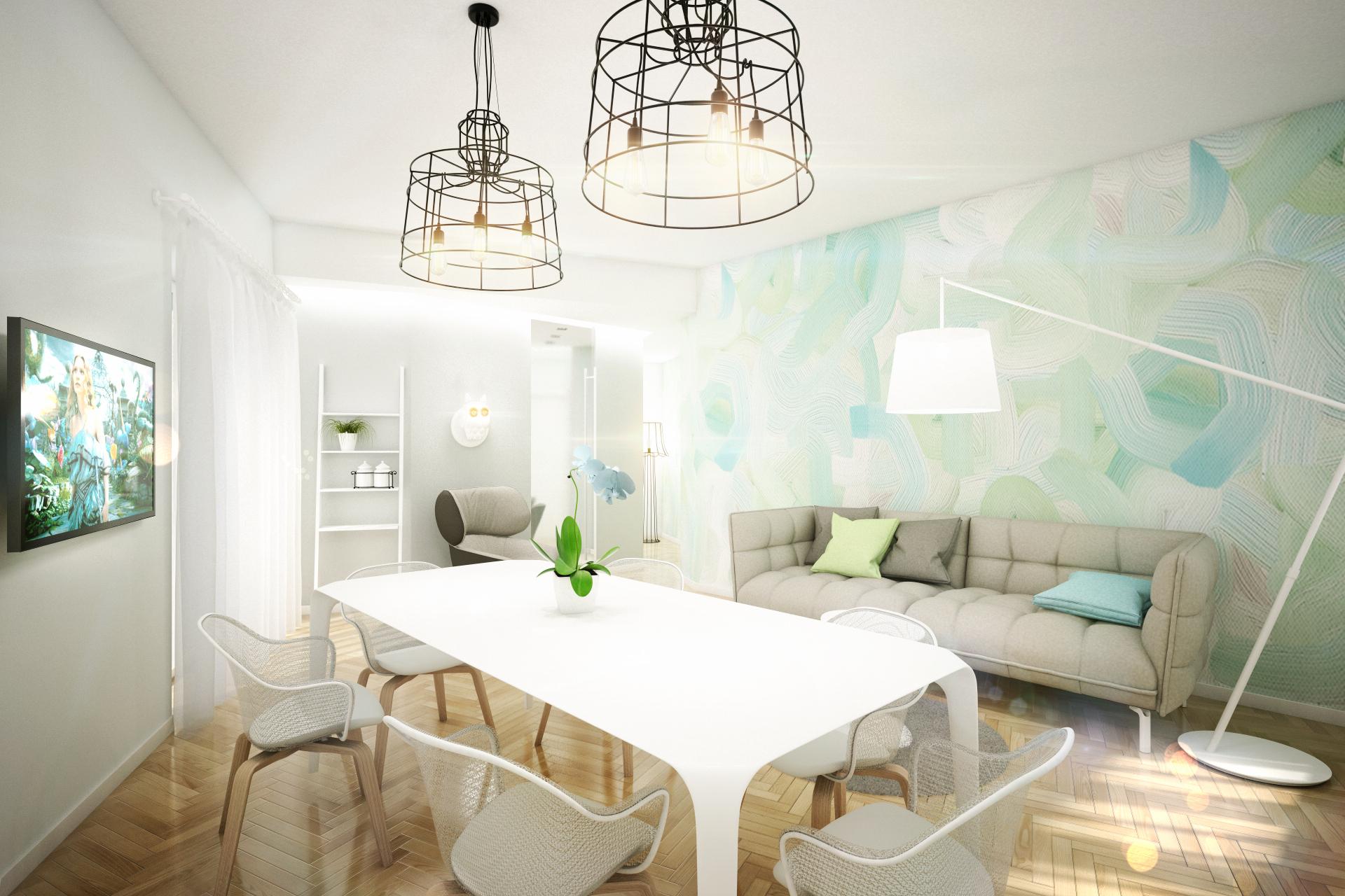 Дизайн квартиры в пастельных тонах: гостиная