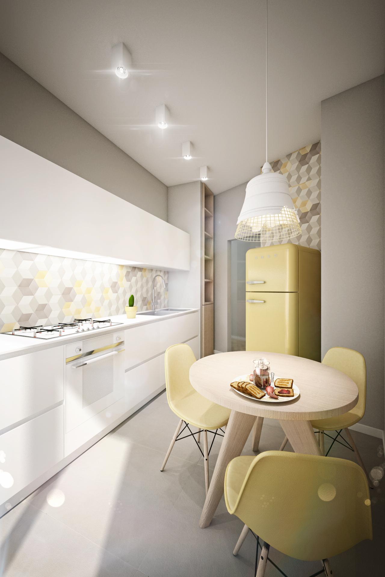 Дизайн квартиры в пастельных тонах: кухня
