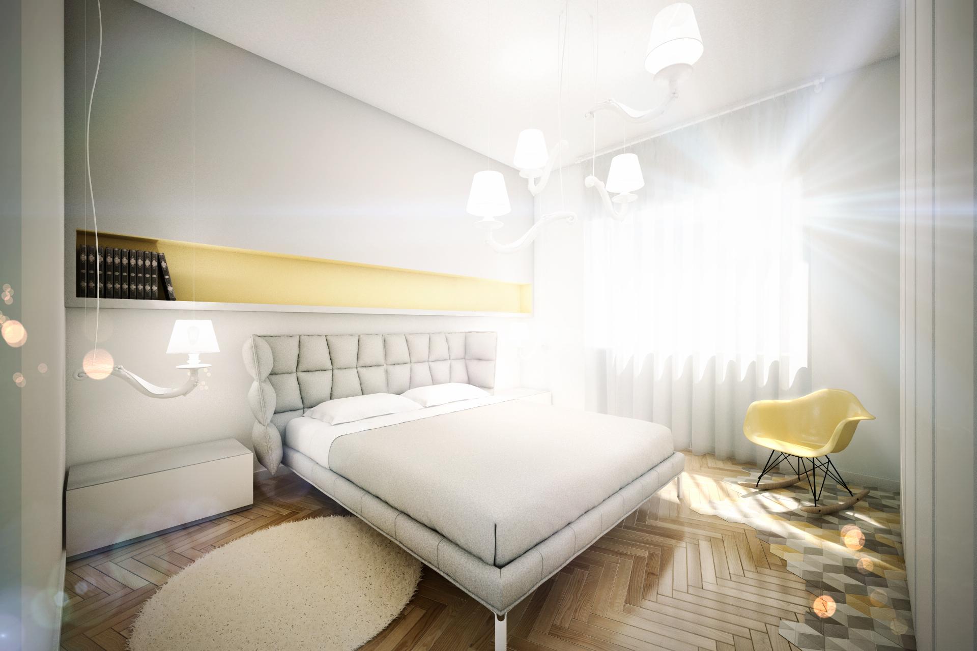Дизайн квартиры в пастельных тонах: спальня