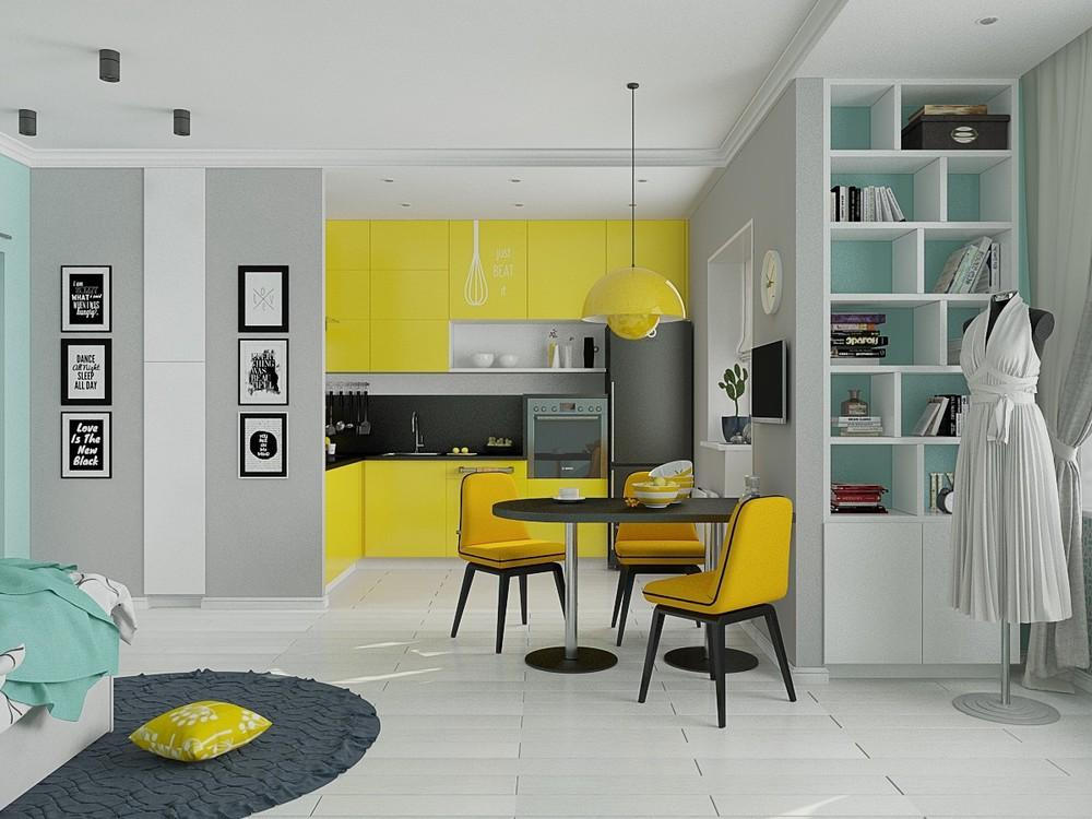 Красочная кухня в маленьком доме