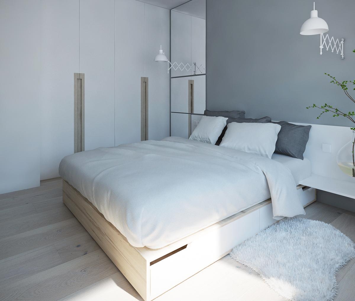 Спальня в бело-серой палитре