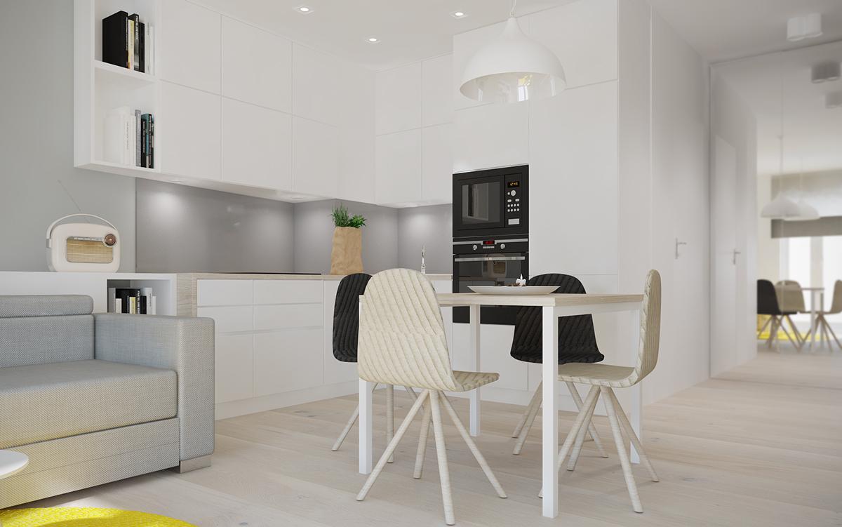 Кухонный уголок в белом цвете