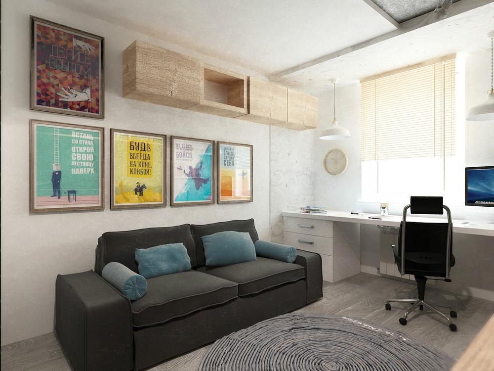 Домашний кабинет в гостиной