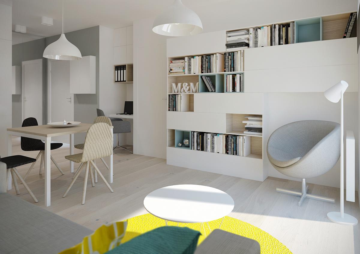 Книжный шкаф в интерьере маленького дома