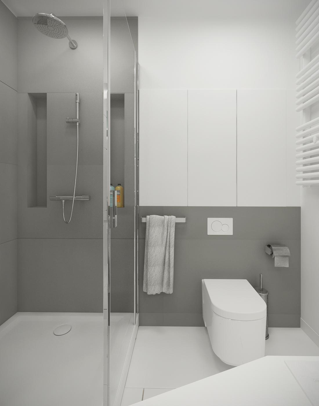 Ванная в бело-сером цвете