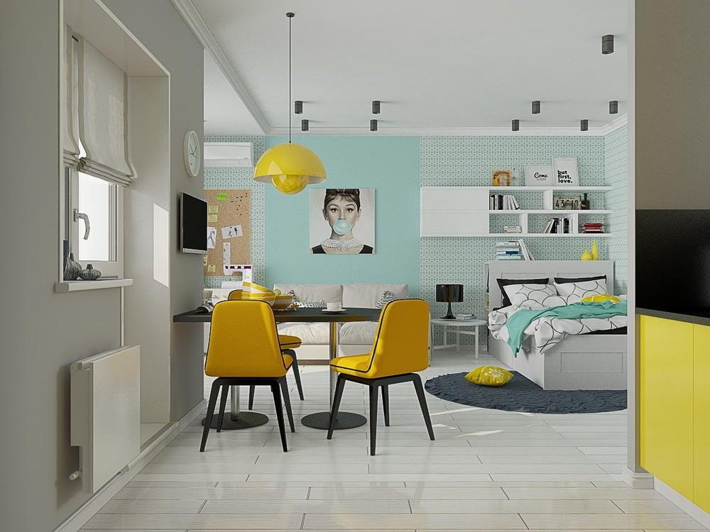 Дизайн интерьера маленького дома с яркими акцентами