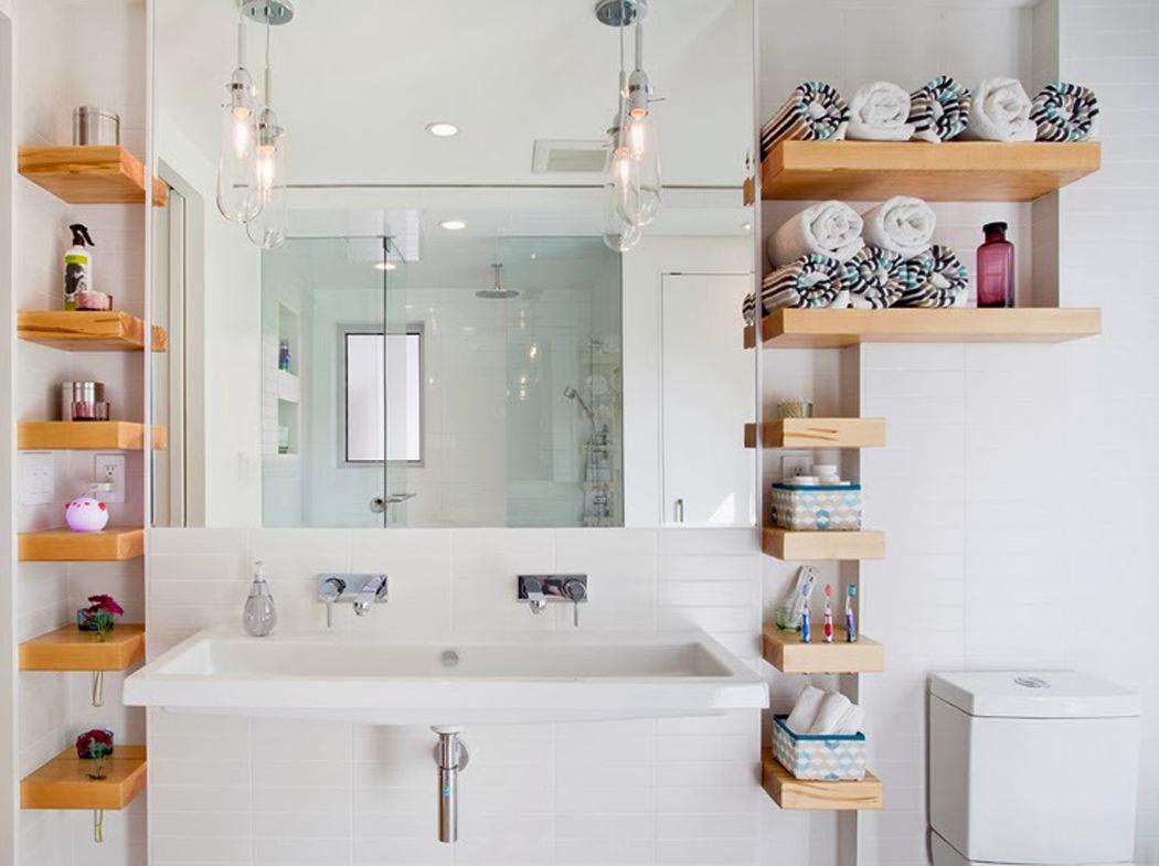 Открытые полки в ванной