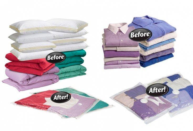 Вещи и одежда в вакуумных пакетах