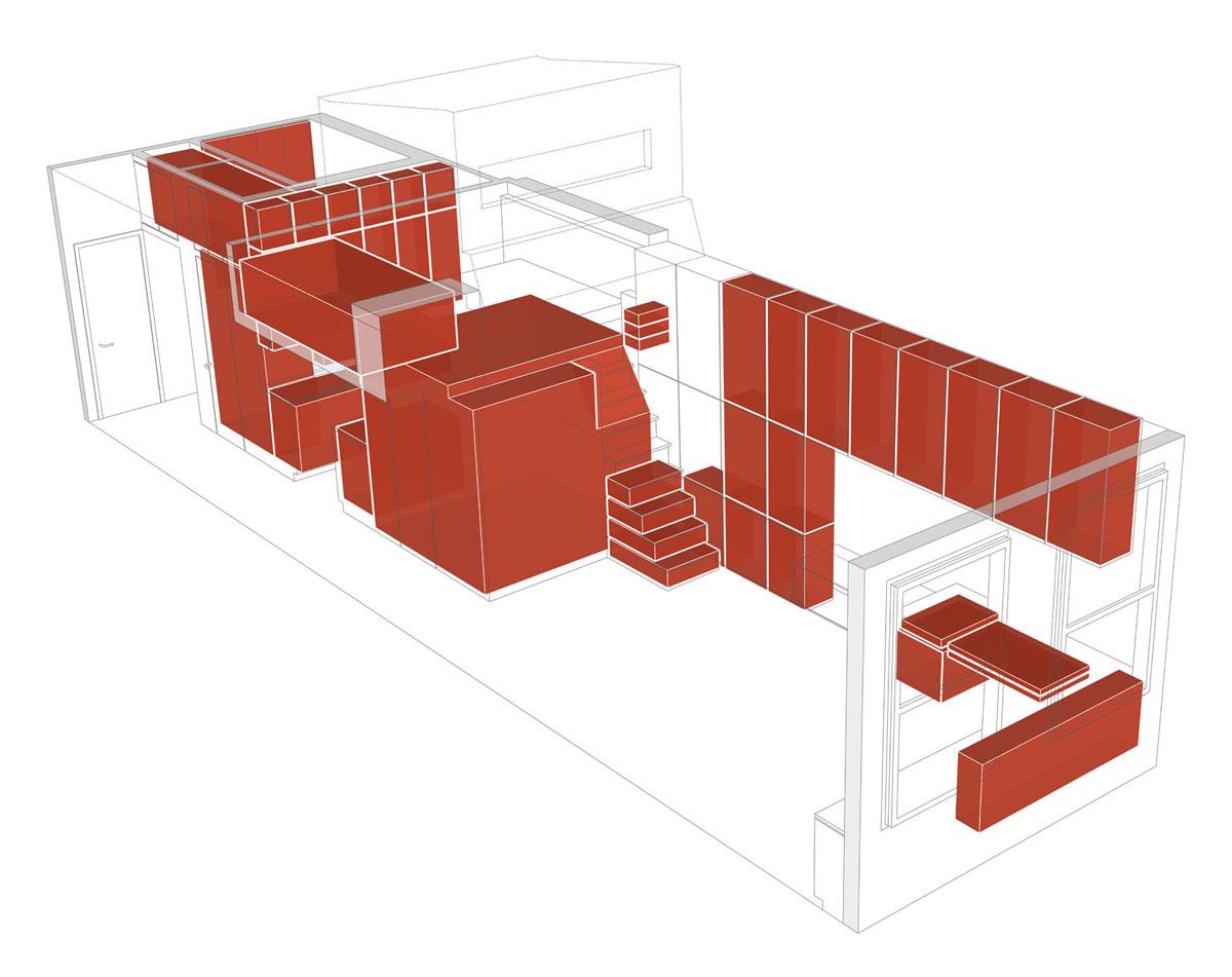 Макет маленькой квартиры-студии в Нью-Йорке