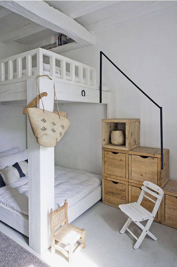Лестница на второй ярус кровати со шкафчиками