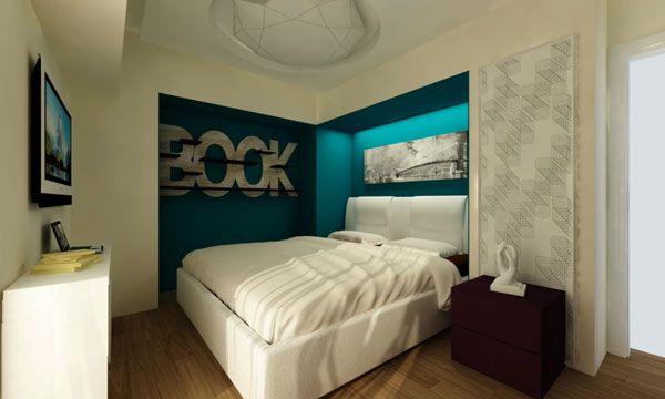 Контрастные цвета в оформлении спальни