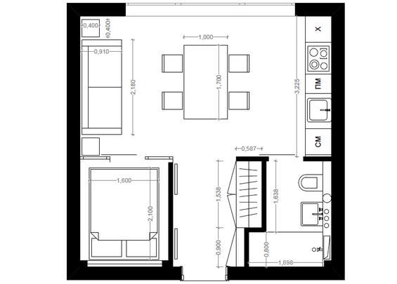 Планировка двухкомнатной квартиры в стиле лофт