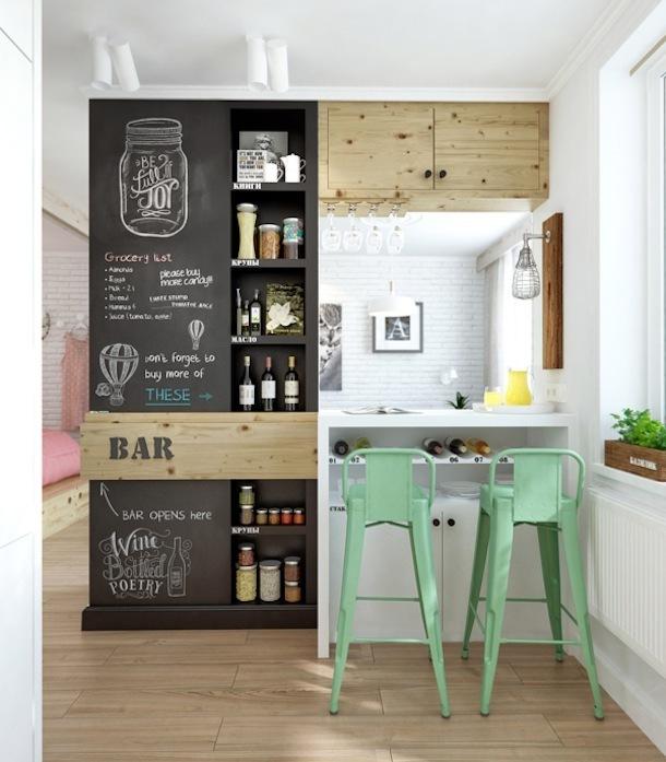 Оригинальная барная стойка на кухне