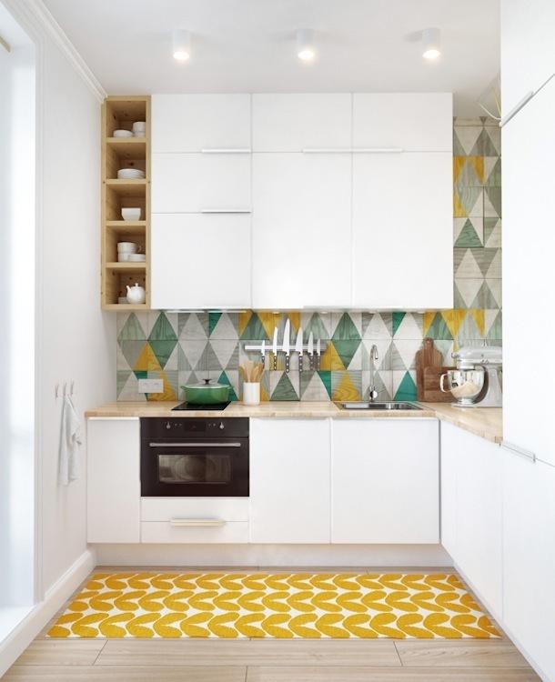 Геометрический узор в оформлении кухни
