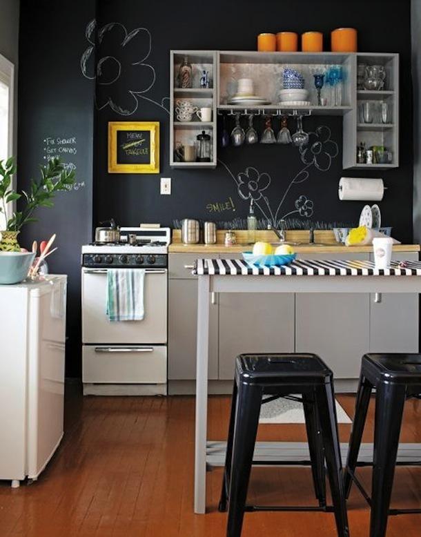 Чёрная стена в интерьере кухни