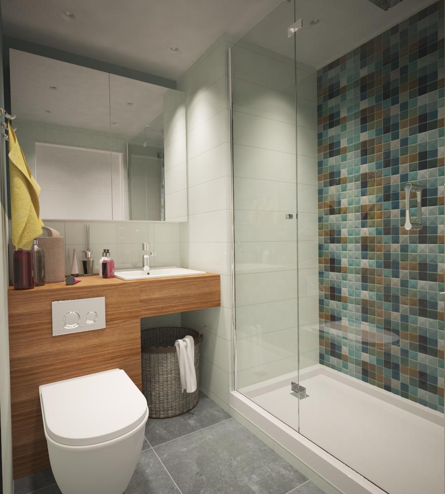 Мозаика в интерьере маленькой ванной