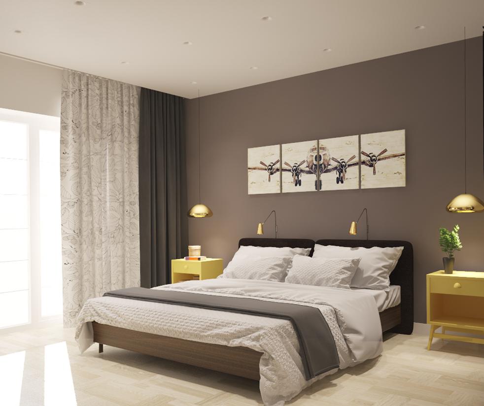 Просторная спальня в пастельных тонах