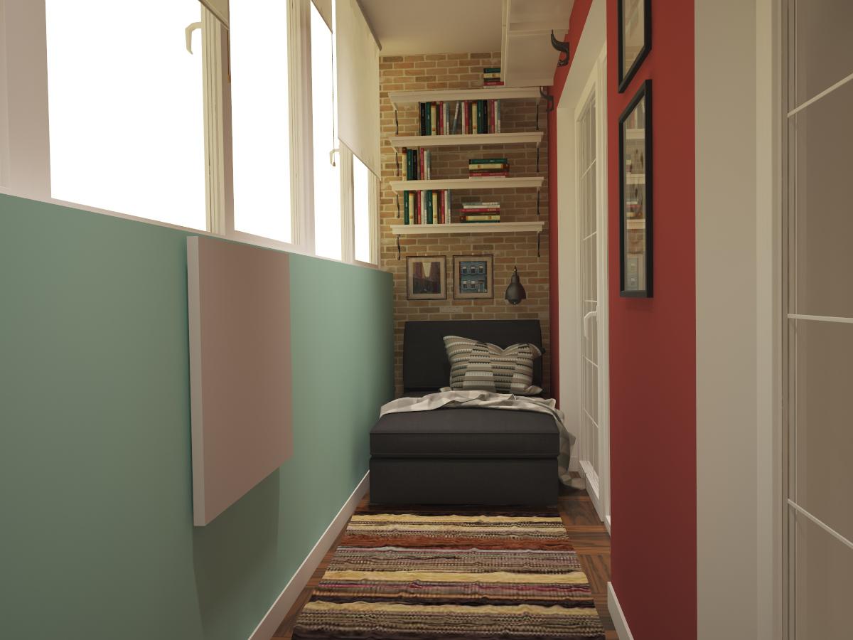 Открытые книжные полки на балконе