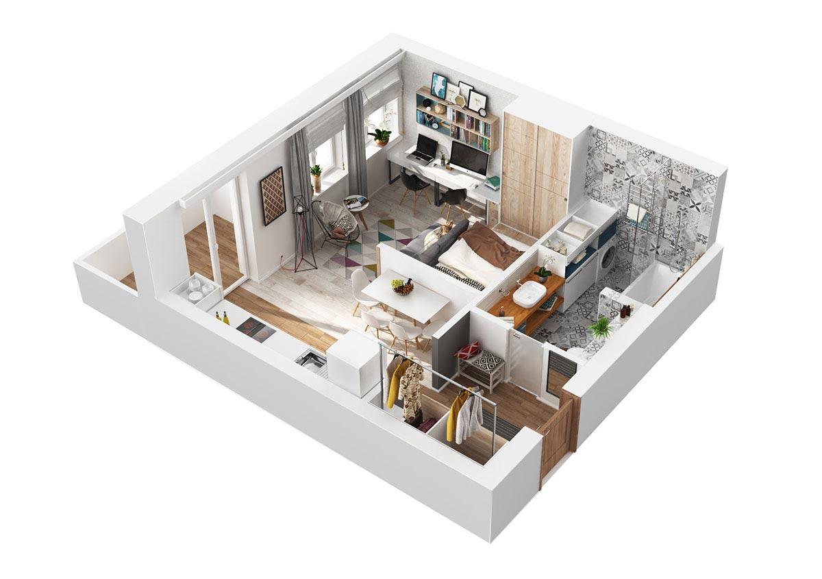 Макет небольшой современной квартиры