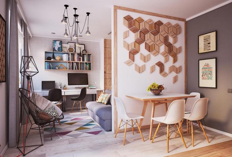 Зонирование в небольшой современной квартире