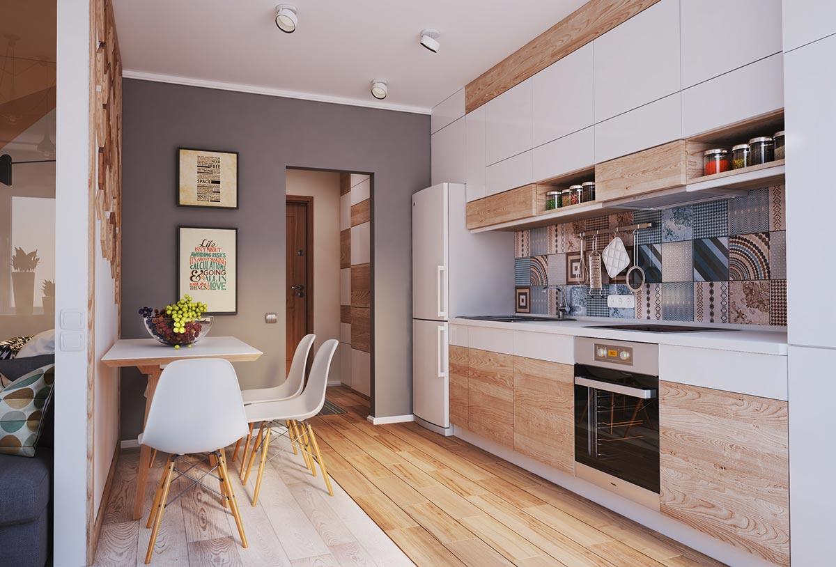 Кухня в небольшой современной квартире