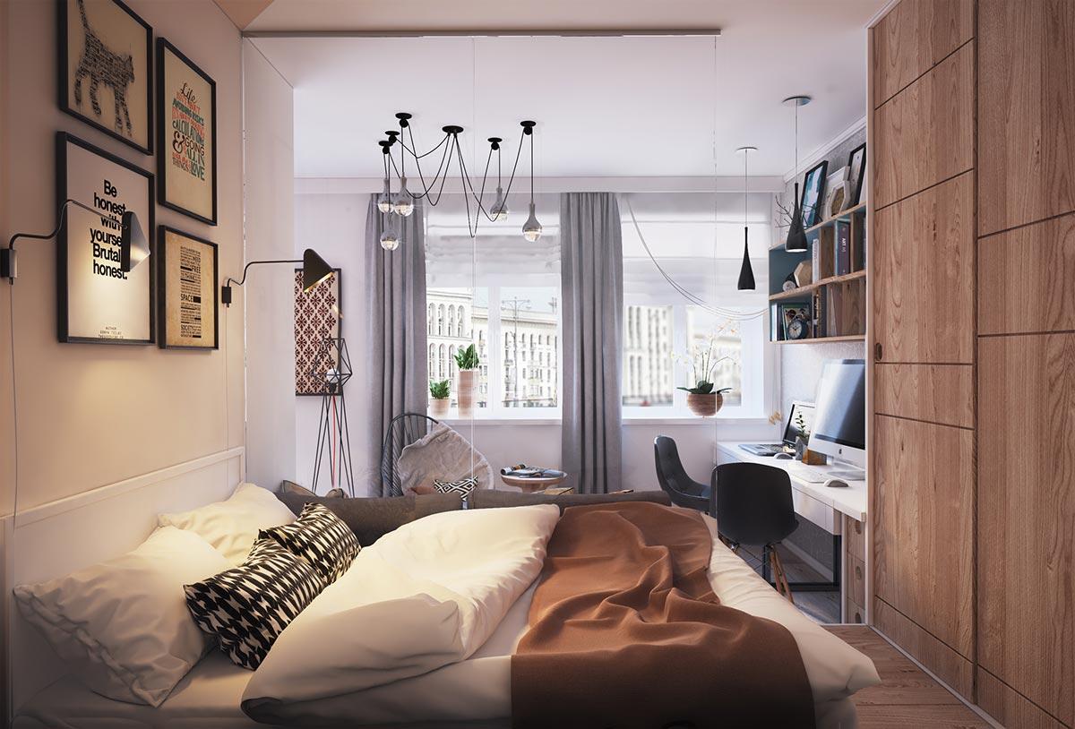 Спальня в небольшой современной квартире