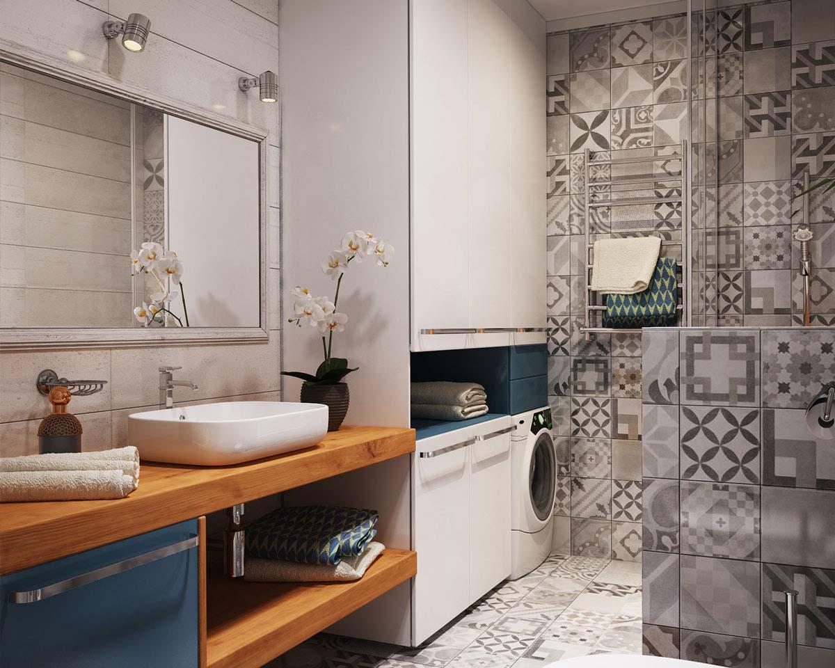 Ванная в небольшой современной квартире