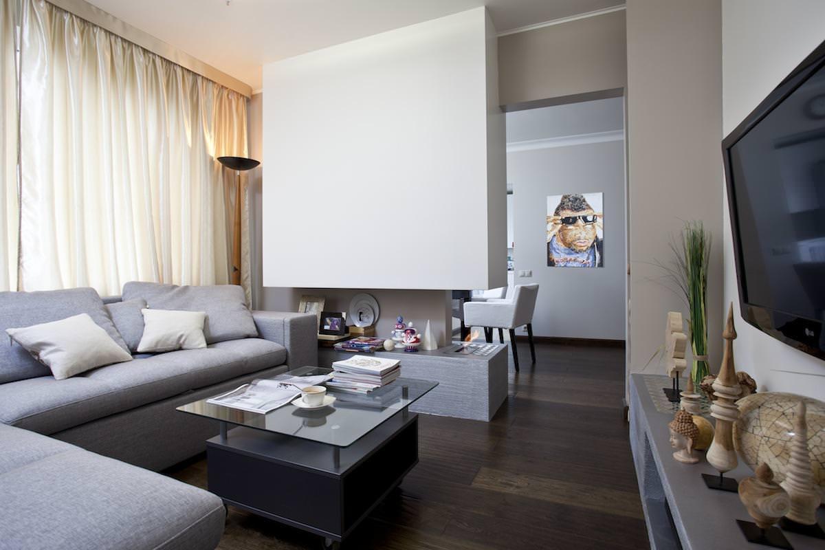 Гостиная стильной квартиры в Москве