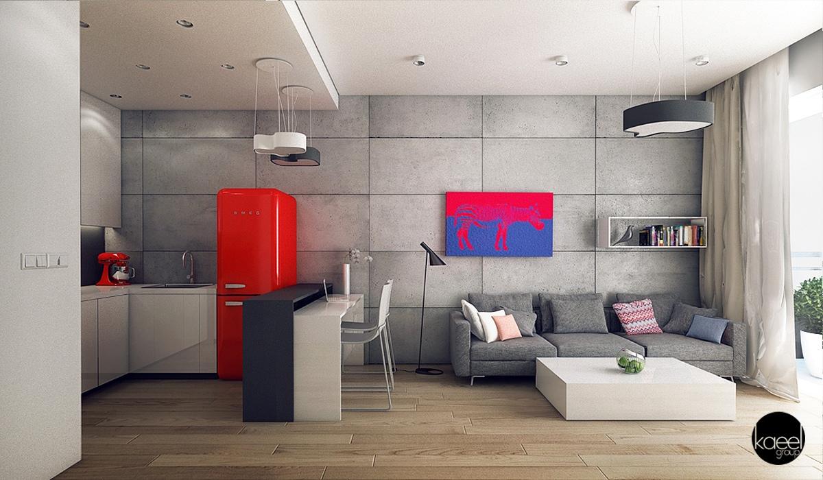 Интерьер дизайнерской квартиры-студии от Kaeel Group