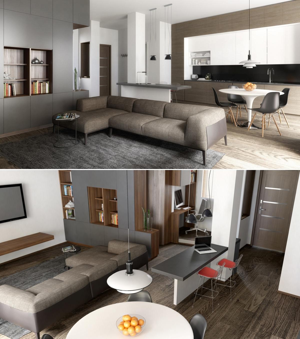 Интерьер дизайнерской квартиры-студии от RNDR Studio