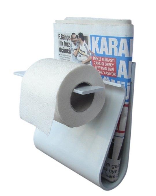 Держатель для туалетной бумаги с полкой для газеты