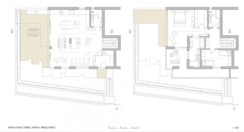 Планировка двух уровней особняка MP