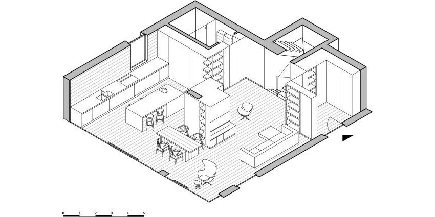 Планировка и меблировка первого уровня особняка MP