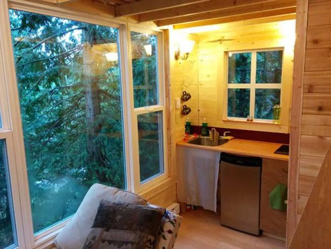 Домик на дереве с лестницей. Большие окна