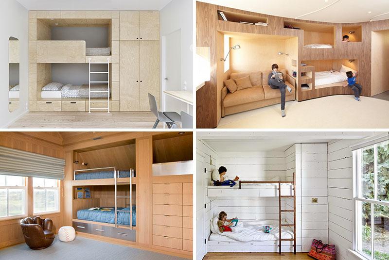 Двухъярусная кровать в спальне для детей
