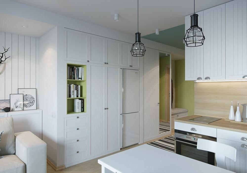 Белые шкафы в интерьере маленькой квартиры