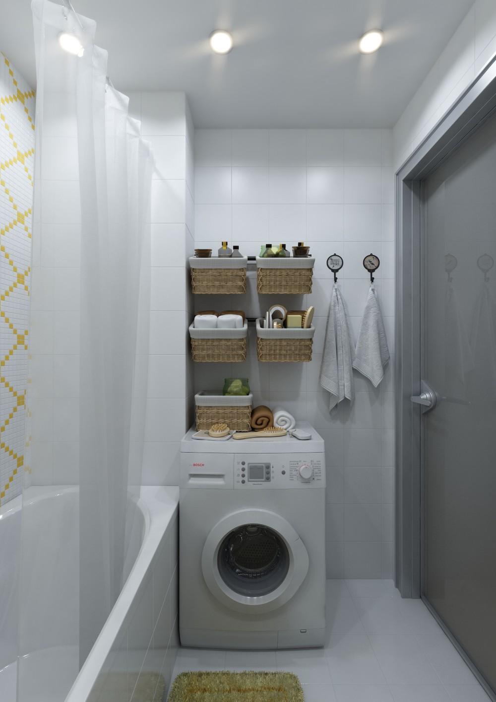 Плетёные корзины в интерьере ванной