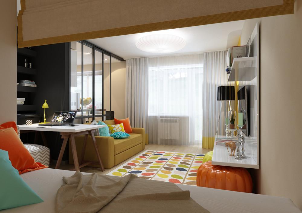 Яркие акценты в интерьере маленькой квартиры